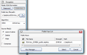 Selecting public key file from the list