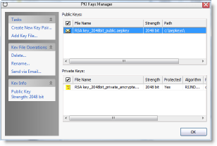 PKI keys manager - the database of public and private key pairs